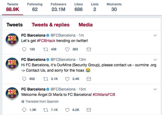 Взломанный твиттер Барселоны сообщил о переходе Ди Марии
