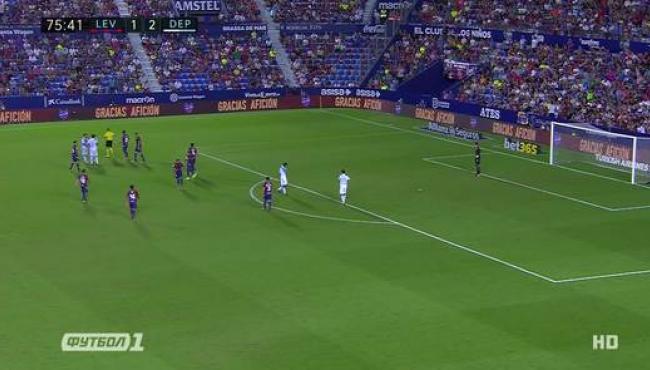 Леванте в меньшинстве отыграл два мяча с Депортиво: смотреть голы